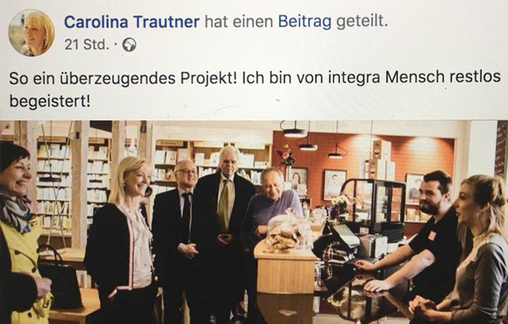 Carolina Trautner teilt Facebookbeitrag